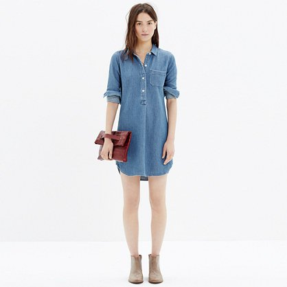 Chambray popover shirt dress with ankle boots