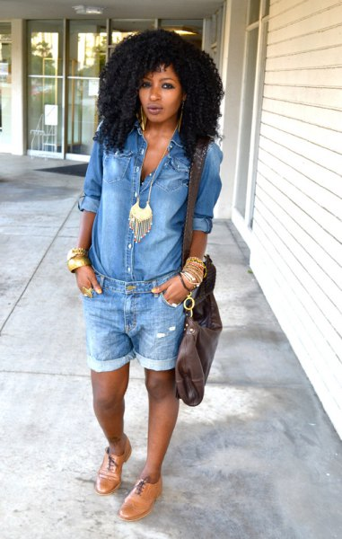 Boho style chambray shirt and necklace