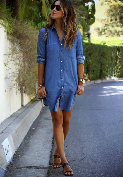 Chambray shirt dress with blue sandals