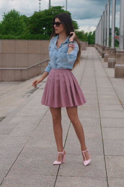Chambray shirt high waisted pink pleated skirt