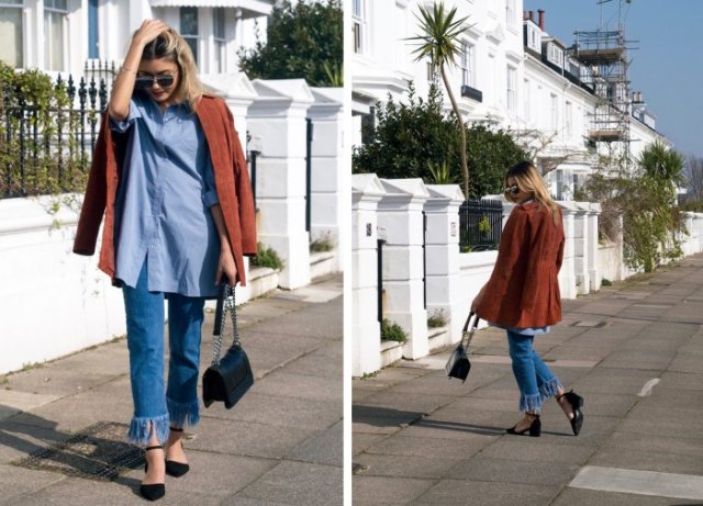 Chambray shirt with a brown corduroy blazer and jeans with a fringed hem