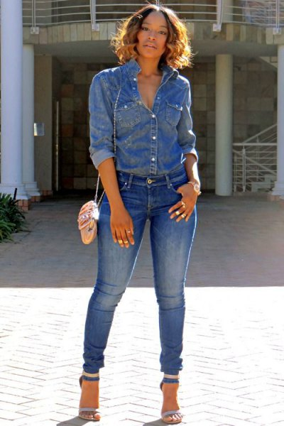 Chambray shirt with jeans and open toe jeans with ankle straps