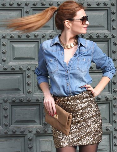 Chambray shirt with mini sequins gold bodycon skirt