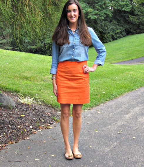 Chambray shirt with mini skirt and light pink sandals