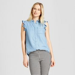 Chambray sleeveless ruffled shirt black and white checked tube pants