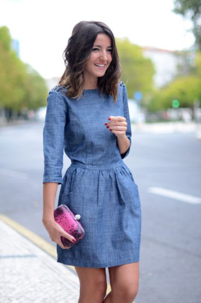 Chambray three quarter sleeve mini ruched waist dress