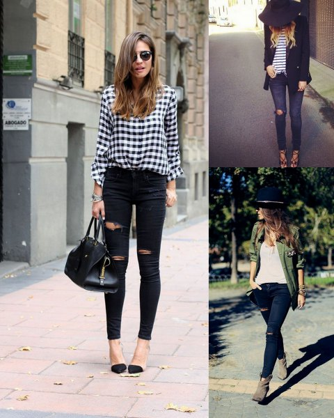 plaid shirt with buttons and black skinny jeans