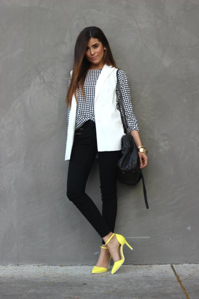 plaid shirt with white vest and yellow heels