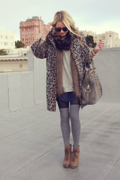 Cheetah jacket gray thigh high socks ankle boots