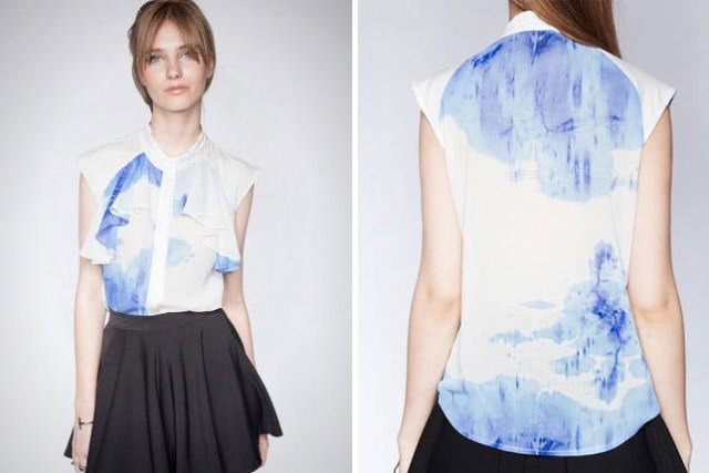 blue and white tie shirt made of chiffon with black minirater skirt