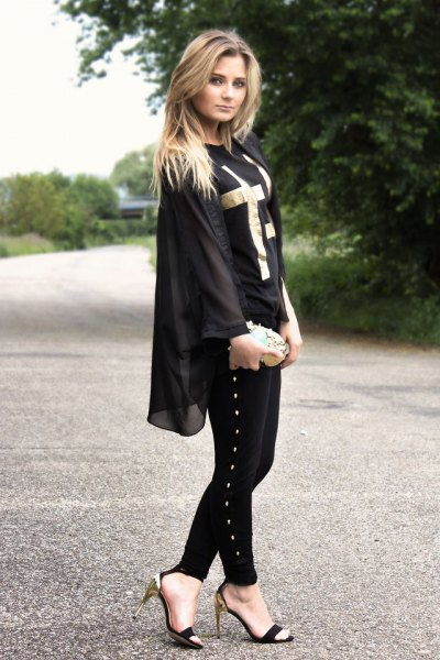 Chiffon jacket with black and silver kitten heel shoes with open toes