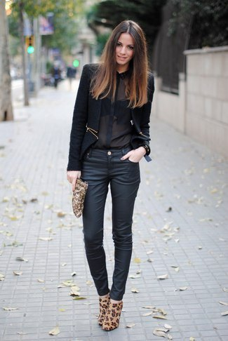 Chiffon shirt with black blazer and skinny jeans with dark blue coating