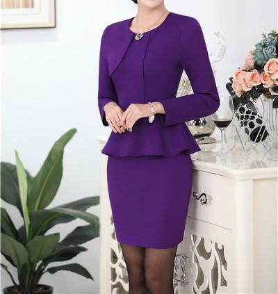 Chiffon slim fit peplum suit jacket with mini skirt