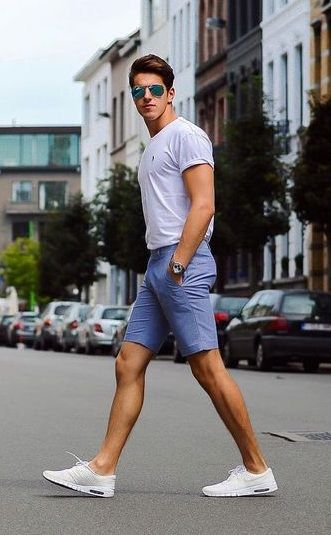 simple and smart chino shorts outfit | Mens summer outfits, Summer .