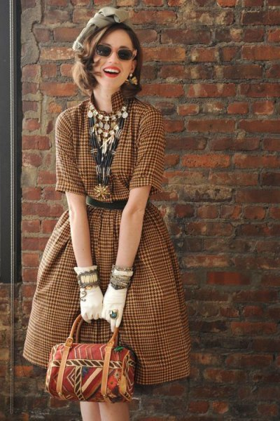 Chocolate plaid fit and vintage flared midi dress