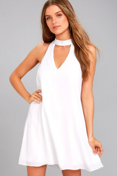 Choke Neck Keyhole Swing Dress