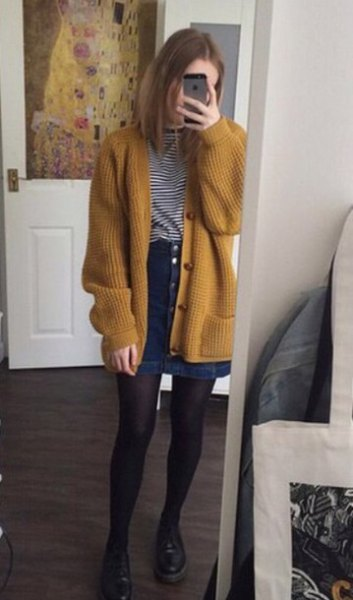 coarsely ribbed cardigan with striped T-shirt and denim skirt with button placket