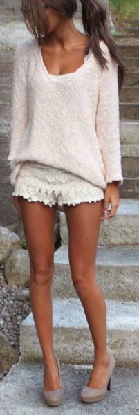 chunky white knit sweater outfit