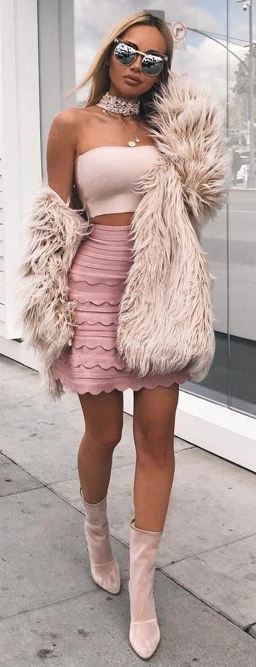 Faux Fur Coat + Pink Skirt | Popular spring outfits, Fashion, Fur .