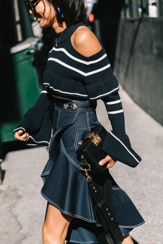 asymmetrical skirt with cold shoulder sweater