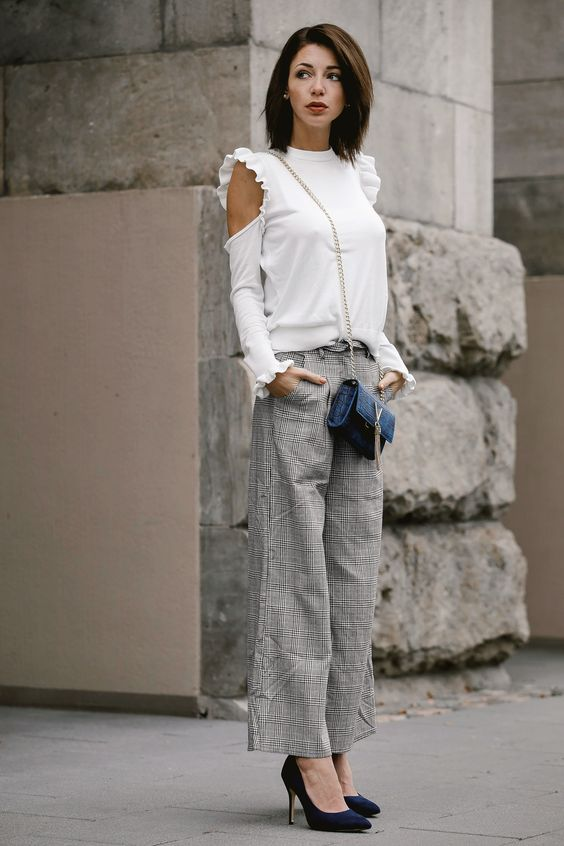 Plaid pants with cold shoulder sweater