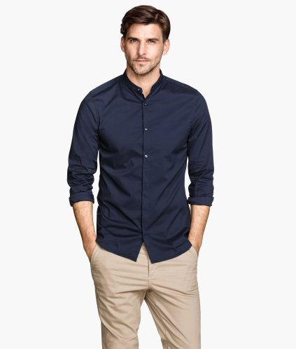 H&M Collarless shirt £14.99 | Shirt outfit men, Blue shirt outfit .