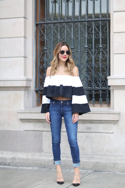 Color Block Bell Sleeve Blouse Jeans
