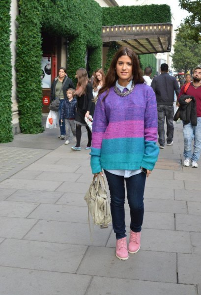 Color block oversized sweater pink boots