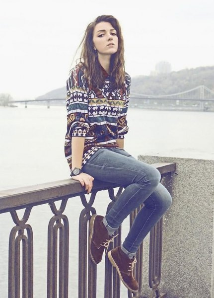 colorful sweater jeans chukka boots