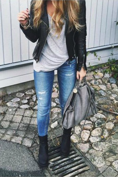 Combat boots with black leather jacket