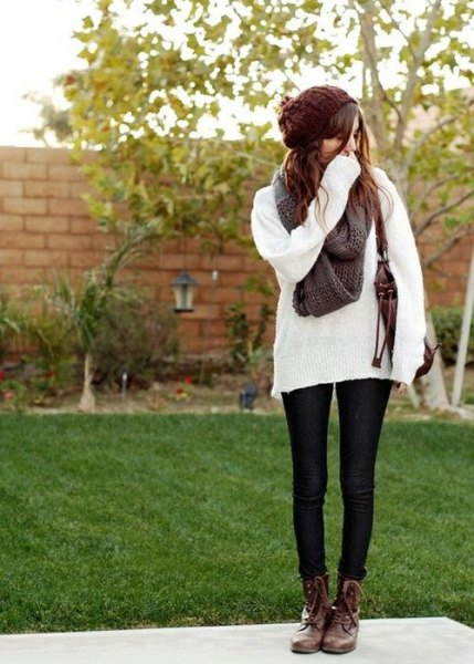 comfortable white knitted sweater brown combat boots
