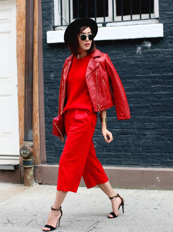 complete red leather jacket look