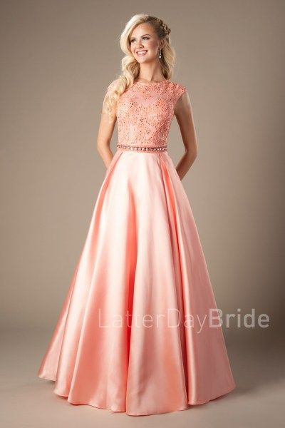 Coral ball gown lace bodice