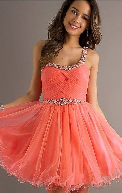 Coral ball gown one shoulder