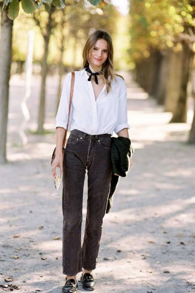 Corduroy trousers button up white shirt