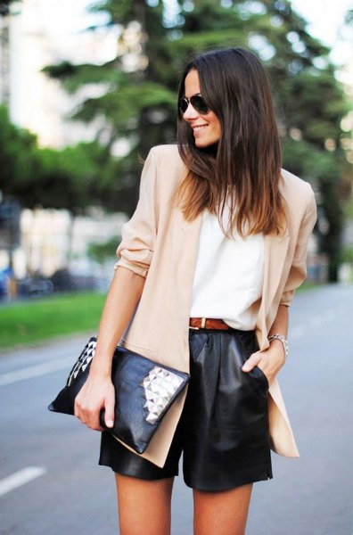 cream colored chiffon blazer black leather shorts