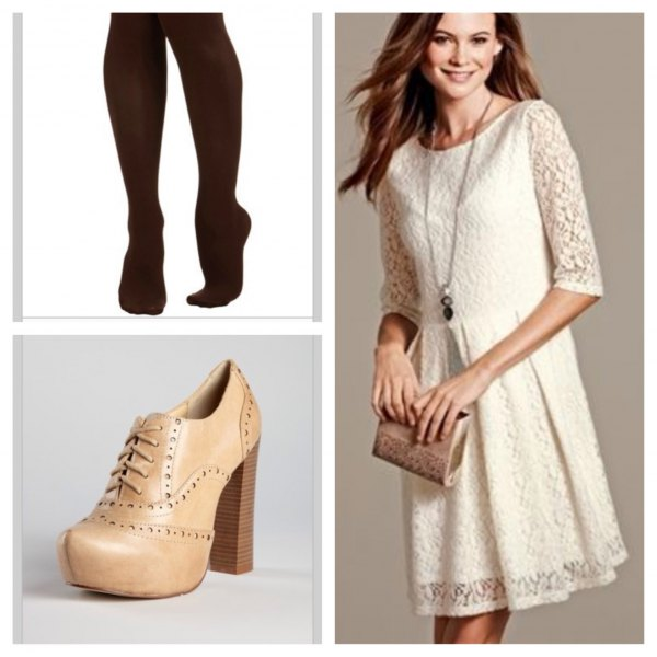 Cream-colored mini dress with a gathered waist and a gathered waist