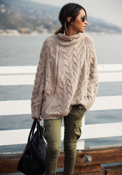 cream-colored oversized pullover cargo pants
