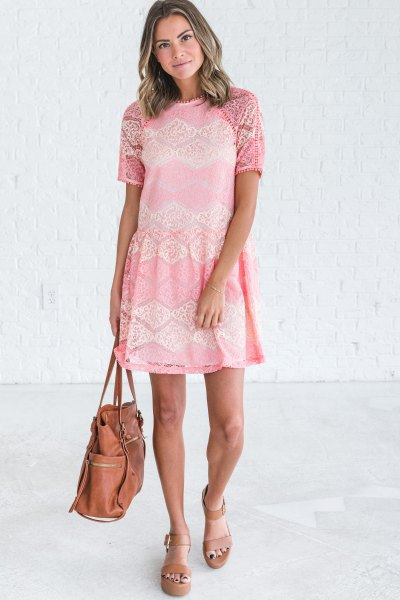 Cream-colored short-sleeved mini dress with pink platform sandals