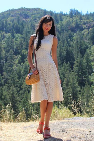 Cream sleeveless fit and flared crochet lace midi dress