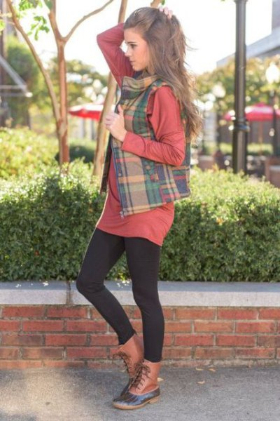 Crepe and green plaid vest over shirt dress