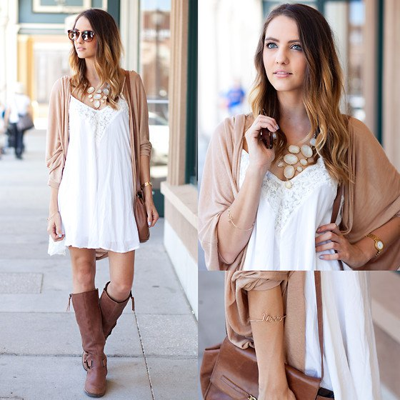 Crepe cardigan brown knee high boots