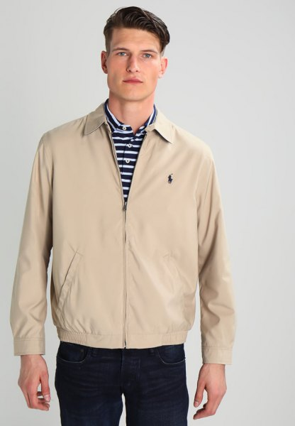 Crepe polo windbreaker with black and white striped top