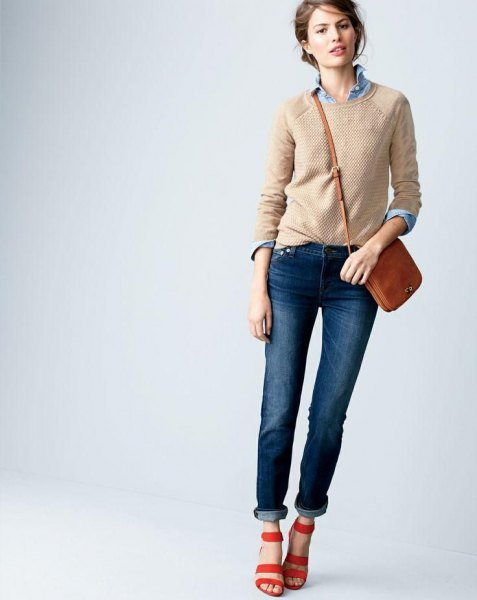 Crew-neck crepe sweater over chambray shirt