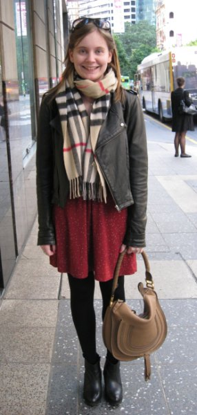 Crepe scarf gray leather jacket brown shift dress