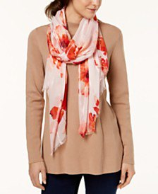 Crepe sweater white and orange satin scarf