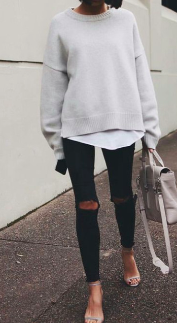 crewneck sweaters + ripped denim | Fashion, Street style, Outfit .