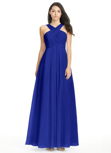 Criss Cross Neckpoint Fit and Flare Royal Blue Maxi Dress