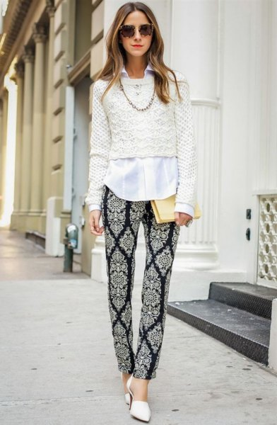 Crochet a cropped sweater over a white buttoned shirt