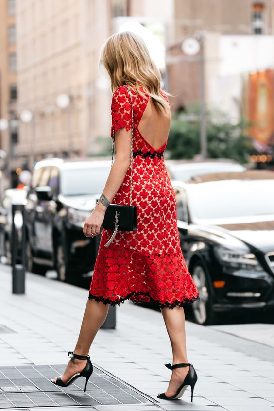 Coral red crochet dress